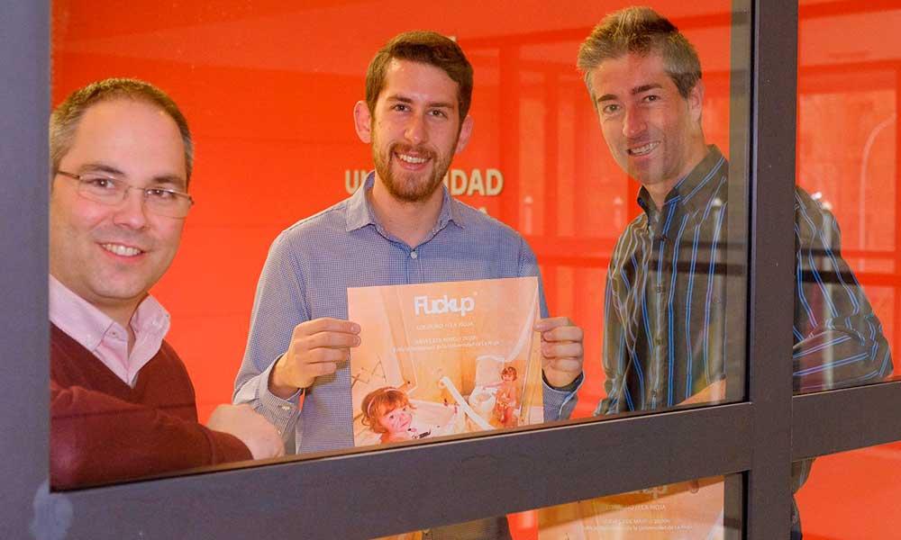 José María Marcolaín, David Peso y Rubén Fernández, presentando las FuckUP Nights en la Universidad de La Rioja